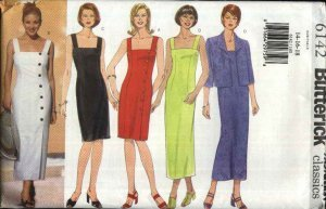 Butterick Sewing Pattern 6142 Misses Size 14-16-18 Easy Classic Straight Sleeveless Dress Jacket (Dress Pattern Front)