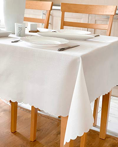 40 Square Table Tabletop - AHOLTA DESIGN Turkish Polyester Easter Tablecloth Table Linen, Stain Resistant, Wrinkle Free, Non-Iron, Dust-Proof, Heavy Duty, Lightweight, Square Tablecloth (Ivory Light, Square 60