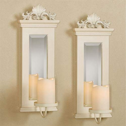 Acanthus Mirrored Wall Sconces Ivory Set of Two ()