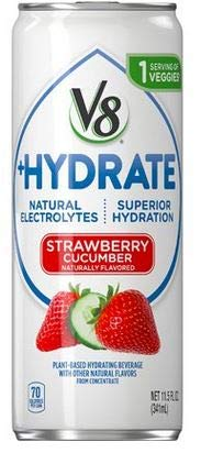 V8 +Hydrate Plant Based Hydration, Non-GMO, No Sugar Added, Vegan Drink 11.5 Ounces (Pack of 24, Strawberry Cucumber)