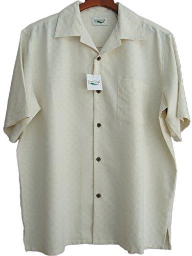 Good-Life-Mens-Silk-Camp-Shirt-Ivory-Textured-Window-Pane-Casual