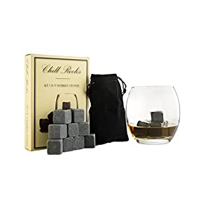 Set of 9 Grey Beverage Chilling Stones [Chill Rock...
