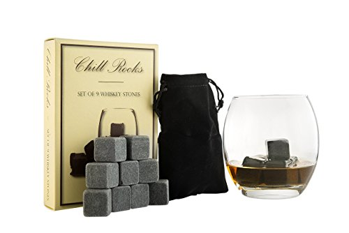 White Monogrammed Gift Pouch - Set of 9 Grey Beverage Chilling Stones [Chill Rocks] Whiskey Stones for Whiskey and other Beverages - in Gift Box with Velvet Carrying Pouch - Made of 100% Pure Soapstone - by Quiseen
