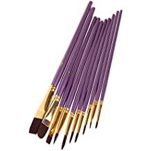 Pointed-Round Paintbrush Set, 10 Pieces Round Pointed Tip Nylon Hair Artist Detail Paint Brushes Set For Fine Detailing & Art Painting, Acrylic Watercolor Oil, Nail Art, Miniature Painting, Purple