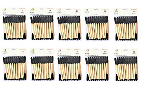 PANCLUB Paint Foam Brush Value Pack 1 Inch - 25 Per/Pack 10 Packs | with Wood Handles | Great for Art, Varnishes, Acrylics, Stains, Crafts
