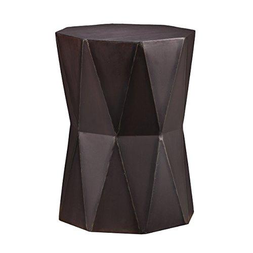 (Southern Enterprises All Metal Accent Table - Geometric Polygonal Design - Brushed Antique Black Finish)