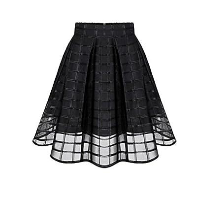 CocoMarket Women Basic Solid Flared Mini Skater Skirt Organza Skirts High Waist Zipper Ladies Tulle Skirt