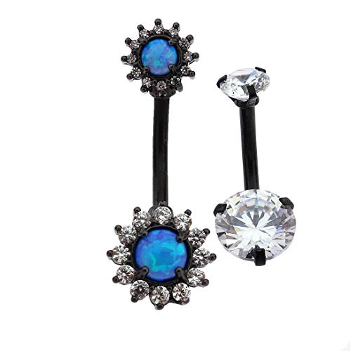 Excepro Piercing Fairyland 316L Surgical Stainless Steel PVC- Black Plated Blue Sun Flower Cubic Zirconia Body Jewelry Shiny Belly Button Rings
