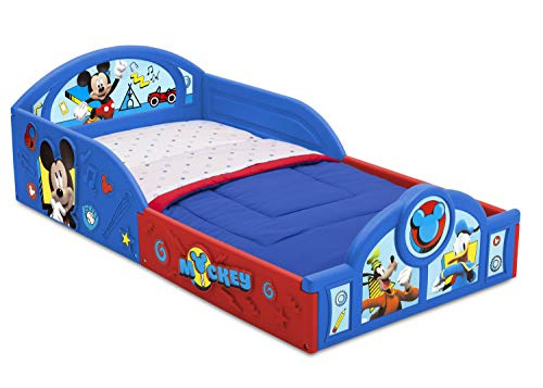 Cheapest Prices! Disney Mickey Mouse Deluxe Toddler Bed with Attached Guardrails