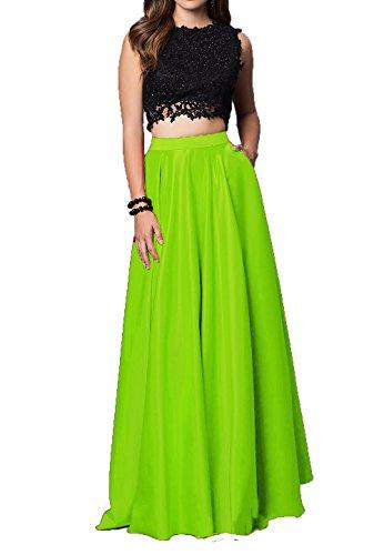 Dentelle Des Femmes De Mariée Anna 2017 Robes De Bal Deux Longues Robe De Bal Morceau Vert Lime