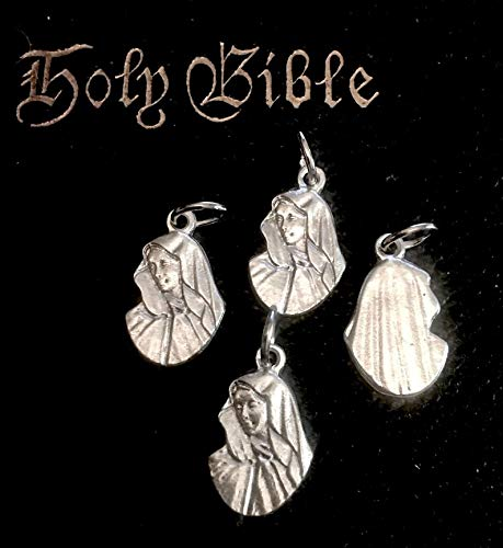 World's Natural Treasures Mater Dolorosa Virgin Mary Sorrowful Mother Medals Set of 4 Blessed Mary Charms Jesus Mother Mary Catholic Gift Italy