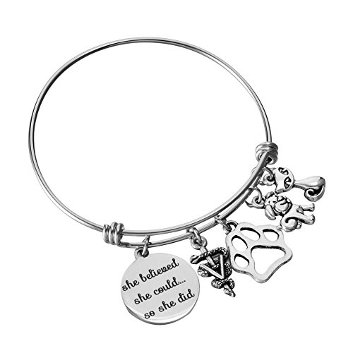 Miss Pink Veterinarian Bracelet Adjustable Wire Bangle Medical Caduceus Animal Charms Graduation Birthday Jewelry Gifts for Women