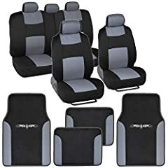 Matching car floor mats and seat covers with unique and sleek designs to give your vehicle style. Engineered to give your vehicle full protection whether sedan, truck, SUV, or van. The backing of the mat, made from rubber polymers, prevents s...