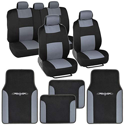 BDK Gray Combo Fresh Design Matching All Protective Seat Covers (2 Front 1 Bench) with Heavy Protection Sleek Graphic Auto Carpet Floor Mats (4 Set)