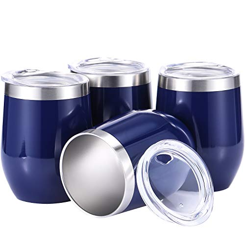 Skylety 4 Pack 12 Oz Unbreakable Triple-Insulated Stemless Wine Tumbler, Stainless Steel Wine Glass Cup with Lids, Drink-Ware Glasses for Wine, Coffee, Champagne, Cocktails and Beer (Navy Blue) (Cocktail Blue Navy)