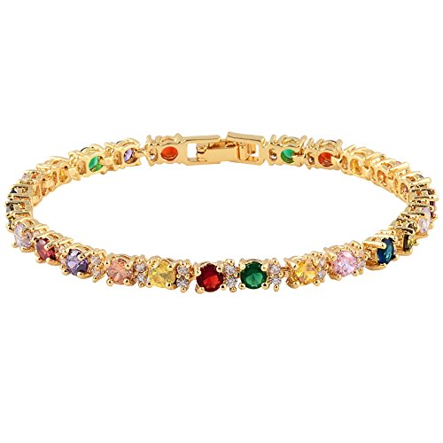 RIZILIA Eternity Tennis Bracelet & Round Cut CZ [Multi-Color] in Yellow Gold Plated, 7