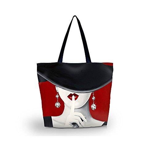 Newplenty Ladies Zippered Light Shoulder Shopping Tote Bag Handbag Beach Satchel (Pretty Lady)