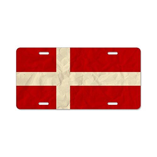 HHAT Unisex Denmark Paper Flag License Plate Frame Aluminum Board Frames Theft-proof Frames