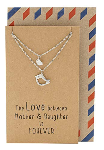 Quan Jewelry Mother Daughter Bird Pendant Necklace, for Mommy, Grandmom and Expectant Young Moms, Set for 2, with Greeting Card