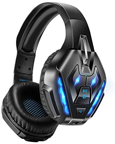 PHOINIKAS Gaming Headset for PS4, PC, Xbox one Headset with 7.1 Sound, Bluetooth Wireless Headset for Phone, Over Ear Headphones with Noise Cancelling Detachable Mic, LED Light, Bluetooth Up to 40h