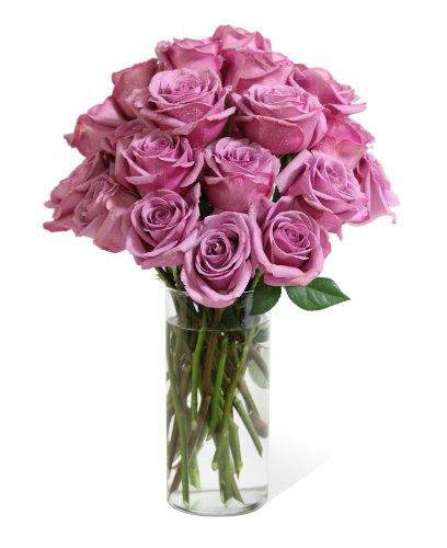 Bouquet of Long Stemmed Lavender Roses (Two Dozen) - The KaBloom Collection Flowers With Vase (Rose Lavender Bouquet)
