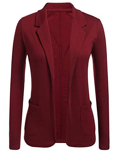 Trajes Larga Chaqueta Mujer Delgado Manga Para De Rojo Traje Trabajo Cardigan Vestir Vobome Casual Abrigo pwzq7g7