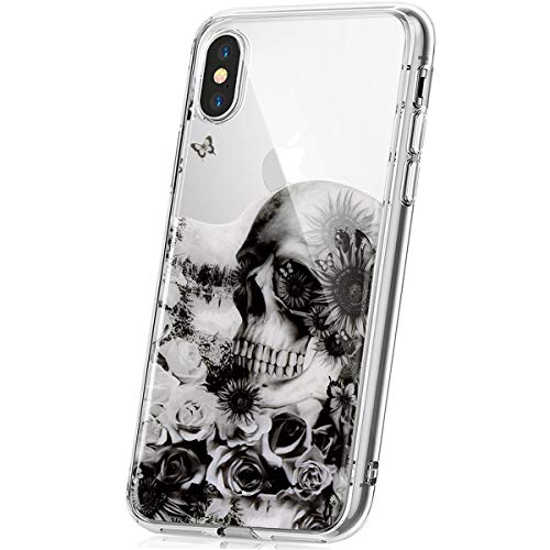 PHEZEN iPhone XR Case,iPhone XR Clear TPU Case with Cool Flower Skull Fashion Design, Ultra Thin Flexible TPU Gel Rubber Soft Skin Silicone Protective Case Cover for iPhone XR -