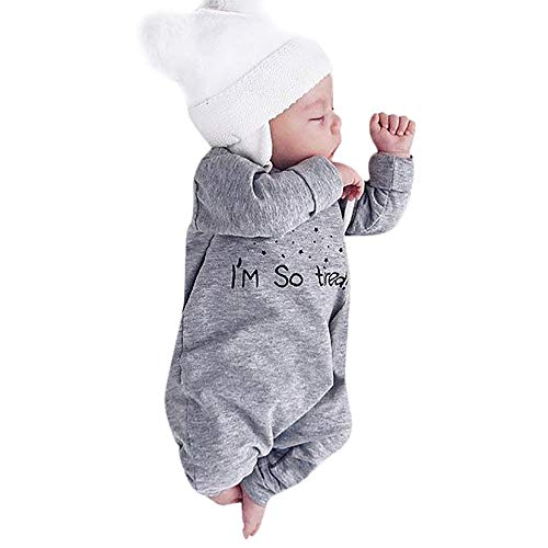 Suma-ma Clearance Gray O-Neck Long Sleeve Newborn Kids Romper Jumpsuit - BPA Free Safe Fiber Playsuit Outfit Clothing 0-24M -