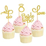 24 Pcs Gold Glitter Bridal Shower Cupcake Topper Bride to be Diamond Ring Love I Do Cupcake Toppers for Wedding Engagement Bridal Shower Bachelorette Party