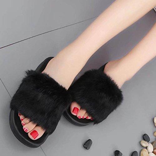 Sandalias para Mujer, RETUROM Otoño de las mujeres invierno plano antideslizante suave sandalias de piel de imitación zapatilla zapatos Negro