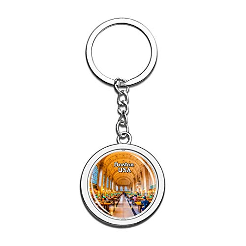 USA United States Keychain Boston Public Library Key Chain 3D Crystal Spinning Round Stainless Steel Keychains Travel City Souvenirs Key Chain Ring]()
