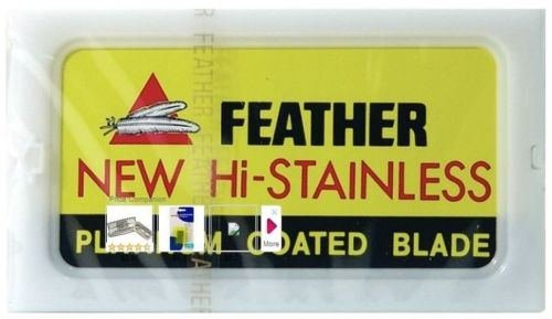10 FEATHER Hi-Stainless Platinum Coated Double Edge Razor Blades - Made in Japan (In Der Hook)