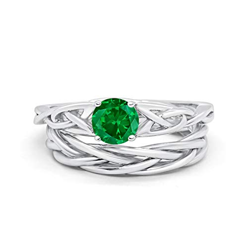 Blue Apple Co. Round Simulated Green Emerald Cubic Zirconia Celtic Trinity Wedding Engagement Band Ring Braided Two Piece Bridal Set Size-7