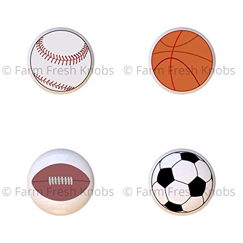 SET OF 4 KNOBS - Sport Balls Baseball Basketball Football Soccer Ball - Sports and Recreation - DECORATIVE Glossy CERAMIC Cupboard Cabinet PULLS Dresser Drawer KNOBS