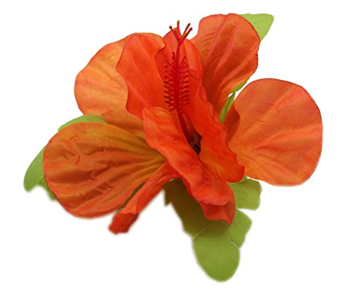 [Hawaii Luau Party Artificial Fabric Single Large Hibiscus Hair Clips Orange Flame] (Flame Hair Costume)