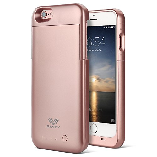 "iPhone 6 / 6S Battery Case [MFI Apple Certified], SAVFY iPhone Portable Charger iPhone 6 6S 4.7"" Charging Case[Rose Gold]-3200mAh Battery Pack Juice Bank Cover"