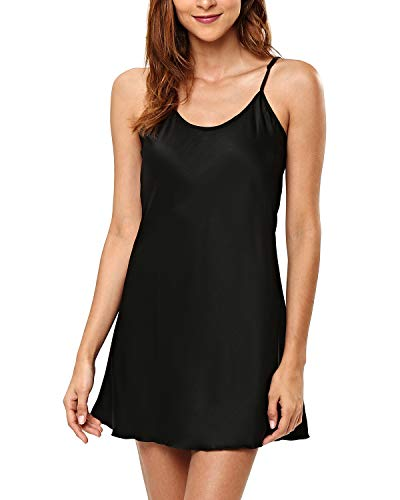 KENANCY Women's Pajamas Satin Lingerie Nightgown Spaghetti Strap Sleepwear Silk Chemise Mini Slip Short Nightwear Black