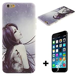 QJM The Wolf Tattoo Girl Pattern Hard with Screen Protector Cover for iPhone 6 Plus