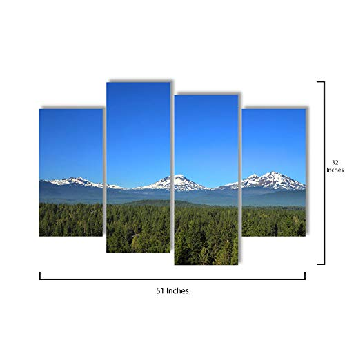 4 Piece Canvas Wall Art - Three Sisters Mountains in Oregon - Modern Home Decor Stretched and Framed Ready to Hang - 51