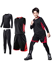 2/3/4 Pcs Boys Girls Base Layer Athletic Compression Leggings and Shirts Thermal Underwear Set Running Pants Tights