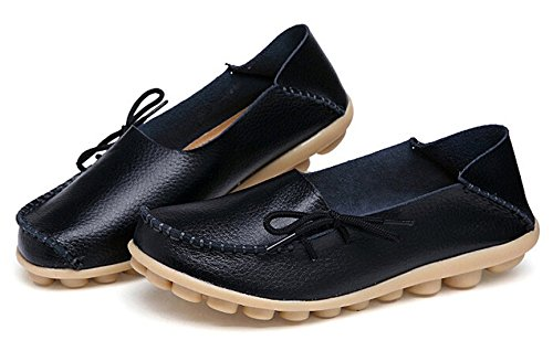 Amerikanske Trender Women s Skinn Blonder-up Sko Loafers Tøffel Flate Pumper Slip-on Svart