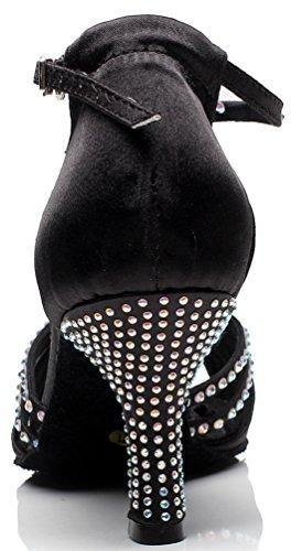 Satin CFP Mid Dance Shoes 7029 Heel Tango Black JJ Ballroom Womens Latin xqUn8zqC