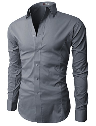 H2H Mens Wrinkle Free Slim Fit Shirt with Solid Long Sleeve GRAY,US M (Asia L)