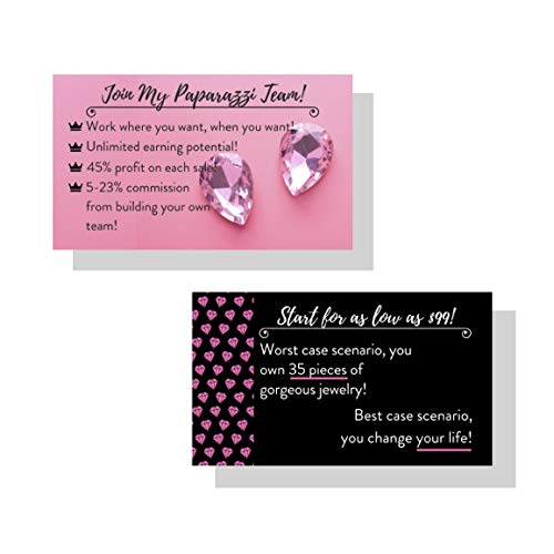 Paparazzi Jewelry Join My Team Recruitment Cards | Pack of 50 | Pink, Black, Jewels, Diamond, 5 Jewelry