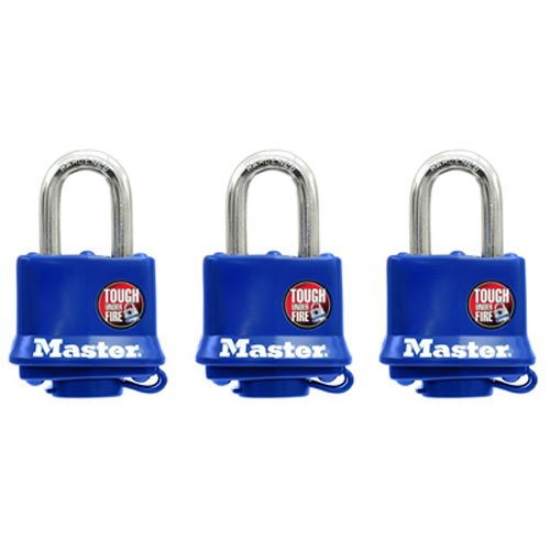 Master Lock 312TRI Laminated Padlocks with Blue Thermoplastic Shell 1-916-inch 3-Pack