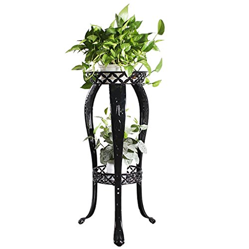(2 Wrought iron flower pot holder, elegant design indoor outdoor garden garden plants bonsai decorative display flower stand (Color : A))