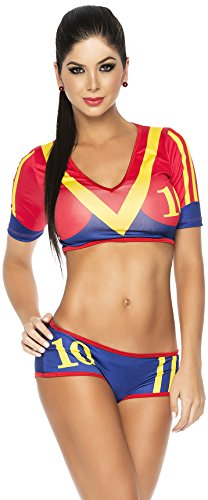 Espiral Lingerie Women's Ole Super Sexy Spain World Cup Inspired Costume, Red/Blue/Yellow, Medium (Yandy.com Costume)