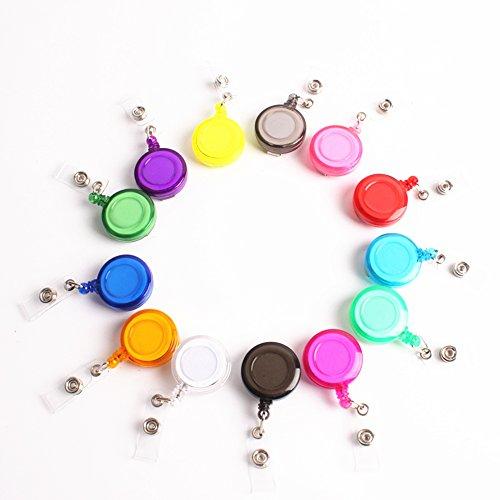 (B&S FEEL 100 Pcs Assorted Color ID Badge Holder Reel Retractable Key Clip)