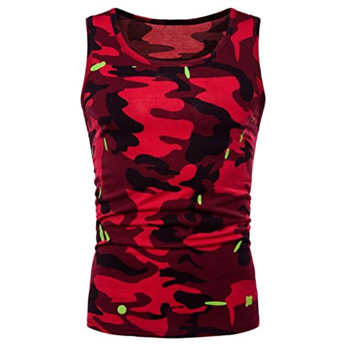 Price comparison product image Mens Tank Top ! Charberry Mens Camouflage Sleeveless Printed Tank Top Casual Camouflage Print O Neck Sleeveless T-shirt Top Vest Blouse (US-L / CN-XL,  Red)