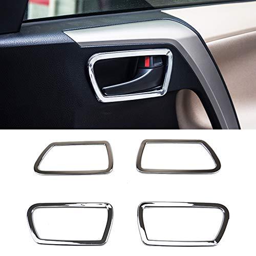 AUTOXBERT Fits for Toyota RAV4 2013-2018 Chrome Inner Inside Door Handle Cover Trim Interior Catch Bowl Garnish Molding 4pcs